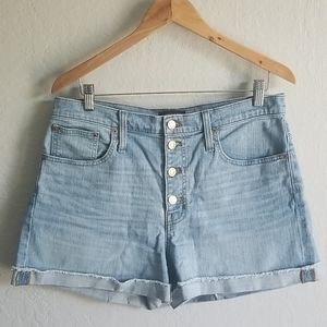 Highrise denim short with button fly